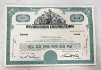Studebaker Corporation 100 Share Stock Certificate 1963-1964
