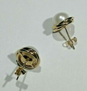 Pair 10 KT Gold 7.5 MM Love Knot Earrings