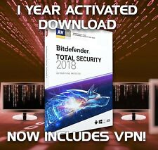 BITDEFENDER TOTAL SECURITY 2018 1 DEVICE -  YEAR ACTIVATION DOWNLOAD