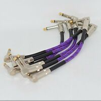 6 PCS 21CM Right Angle 1/4 Mono Guitar Effect Pedal Board Cable Patch Cord free