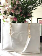 CHANEL VINTAGE CLASSIC WHITE XL SHOPPER HANDBAG