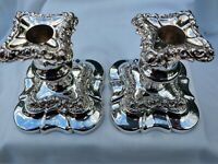 Stunning Rococo English Antique Silver Plate Candlesticks Pair Good order