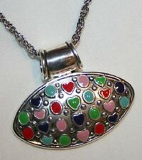 Colorful MJ Oval Enameled Heart Circles Silvertone Choker Necklace ++++
