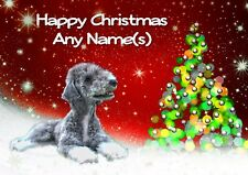 BEDLINGTON TERRIER CHRISTMAS CARD  Personalised & illustrated in & out  A5 size