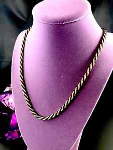 STRIKING TRIFARI TM GOLD-TONE FINISH BLACK TWISTED ROPE COLLAR NECKLACE