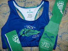 "NEW Juniors ""SPORTABELLA"" Lacrosse  LAX  Sports Bra (Size Small) and Socks (LOT)"
