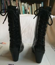 Hunter Verbier Wedge Lace Back Rain Boots Black Womens US Size 6 Rubber