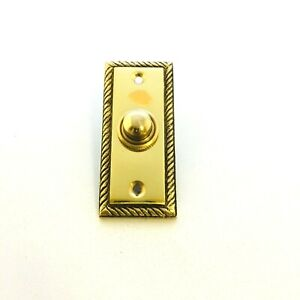 Solid Polished Brass Georgian Door Bell Chime Push Button Press - 78mm x 36mm