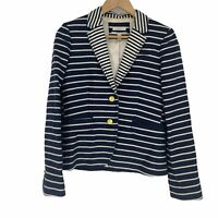 J.Crew Schoolboy Women's Striped Padded Shoulder Blazer Jacket Blue/ white Sz 6
