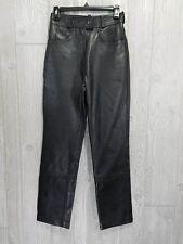 "Highway 1 Excel Women's Black Leather Riding Biker Motorcycle Pants 26"" Waist"