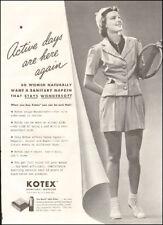1938 Vintage ad for Kotex Sanitary Napkins`retro fashion Tennis (112017)