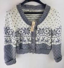 New Decree Junior XL Snowflake Nordic Cropped Cardigan Sweater Gray & Snow $50