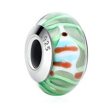 2017New Arrivals Green Murano Glass Cute Fish Charm Bead fit Charm Bracelet