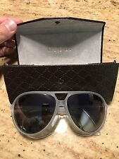 Gucci GG1090/S CRA Aviator Crystal Matte Gray Violet Mirror 61mm Lens Sunglasses