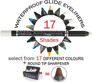 MAKKI WATERPROOF GLIDE EYELINER PENCIL +ROUND-TIP SHARPENER LONG STAY ULTRA SOFT