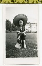 Vintage 1940's GUN photo / Lil Bandito in Sombrero & Chaps w Daddy's Six-Shooter