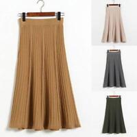 Vintage Faltenrock Damen gestrickt Winter hohe Taille Midi-Röcke A-Linie Kleid
