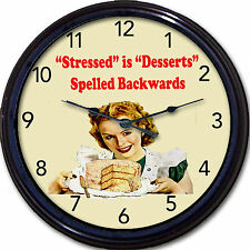 Cake Cupcake Bakery Baker Muffins Wall Clock Stressed Desserts Spelled Backwards