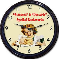 Cake Cupcake Bakery Baker Muffins Wall Clock Stressed Desserts Spelled Backwards