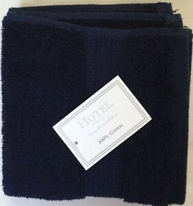 NWT HOTEL LUXURY LINEN COLLECTION 4 NAVY COTTON WASHCLOTH TOWEL