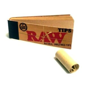 Raw Tips Raw Naturally Unrefined Rolling Paper Filter Tips 50 Count USA SHIPPED