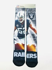 Las Vegas Raiders NFL FBF Socks Large Mens 10-13 Khalil Mack For Bare Feet