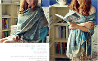 Fashion Elegant Women's Double Side Floral 100% Pashmina Scarf Shawl Wraps