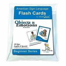 ASL Flash Cards - Learn Signs for Objects & Emotions with Vinyl Storage Pouch -