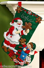 "Bucilla Gingerbread Santa ~ 16"" Felt Christmas Stocking Kit #86442, Cookies, Elf"