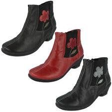 Zip Block Heel Leather Floral Boots for Women