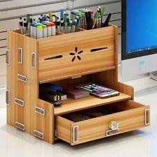 Wooden Pencil Pen Holder Desktop Organizer With Drawer Office Supplies Storage