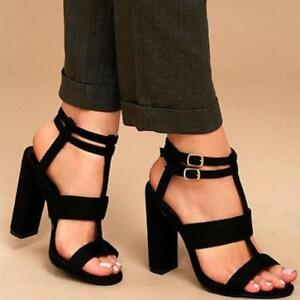Womens Block High Heels Ankle Strap Buckle Open Toe Sandals Gladiator Shoes