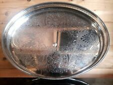 """NICE CAVALIER ENGLAND CHASED SILVER PLATE OVAL SERVING GALLERY TRAY 16"""" X 12"""""""