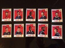 lot 10 vignettes collector Euro 2016 Panini Coca Cola
