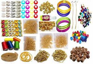 Wooden Plastic Bead Silk Thread Jewellery Making Kit 50 Pair Jhumka Earring Base