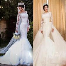 Luxury White Ivory Mermaid Detachable Train Wedding Dress Bridal Gowns Custom Sz