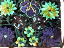 New Green Flowers Purse Threaded Over Velvet Zipper Inside Pouch Long Strap