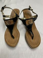 Tommy Hilfiger Women's Wedge Sandals Size 9M EUC Fits Like 7 Straps Black Brown
