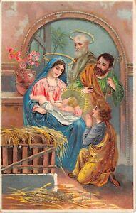 Gorgeous Gilded Old Danish Gelatin Christmas Postcard-Holy Family With Shepherds