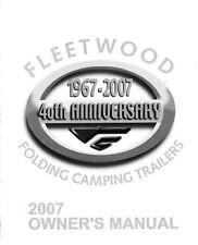 FLEETWOOD Popup Trailer Owners Manual -2007 Highlander Arcadia Avalon Niagara