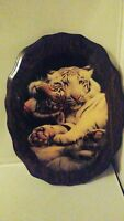 Large Vintage Picture White Tiger Wooden Plaque Board Resin Coated Wall Hanging