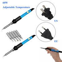 60Watt Electric Soldering Iron Adjustable Temperature Welding Tool 110V 220V New