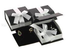 LOT OF 3 MAGNETIC RIBBON EARRING JEWELRY BLACK GIFT BOX T-EARRING / PENDANT BOX