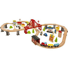70pcs Hand Crafted Wooden Train Set Crossing Railway Track Kids Toy Play Set