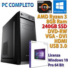 PC Computer Desktop Windows 10 Assembled AMD Quad Core Ryzen 3 8GB SSD 240GB