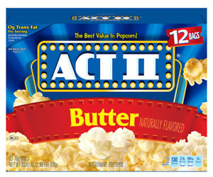 NEW SEALED ACT II BUTTER NATURALLY FLAVORED 12 BAGS  33.01 OZ MICROWAVE POPCORN