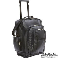 Black Leather Carry On Rolling Backpack Trolley Suitcase Bag Luggage Case
