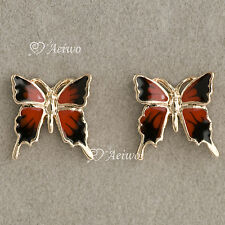 9K GF 9CT SOLID YELLOW GOLD FILLED BUTTERFLY EARRINGS STUD RED BLACK