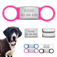 Custom Dog Tags Personalised Slide-On 3/4'' wide Dog Collar Tag No Noise Engrave