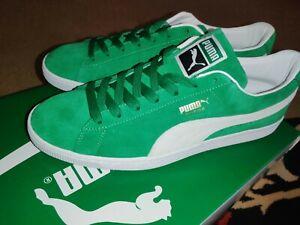 New Mens Puma Suede VTG 374921-03 Kelly Green Puma White Shoes SIZE MEN'S 13